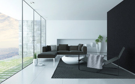 home accents: Charcoal grey and white modern living room interior with a glass wall overlooking a paved patio and upholstered lounge suite, recliner chair and trendy coffee table, accent black wall