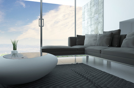 upholstered: Modern living room interior with a trendy funky coffee table and upholstered grey lounge suite in front of floor to ceiling glass wall with patio doors and a view of a cloudy blue sky Stock Photo