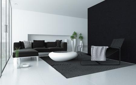 room accents: Grigio minimalista in bianco e vita moderna sala interna con un muro nero accento e finestre dal pavimento al soffitto di vetro con una porta finestra e un tavolino da caff� alla moda e poltrona reclinabile