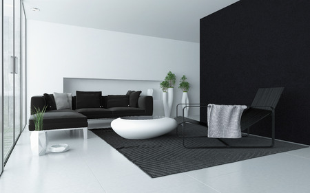 accent: Minimalist grey and white modern living room interior with a black accent wall and floor to ceiling glass windows with a patio door and a trendy coffee table and recliner chair Stock Photo