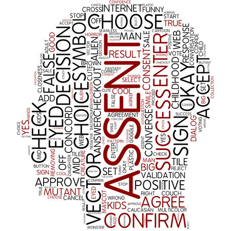 proceed: Word cloud - assent Stock Photo