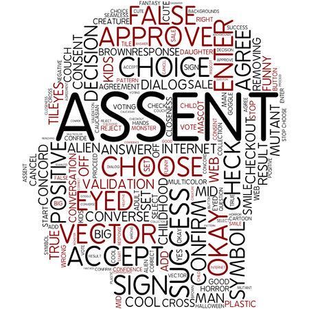 assent: Word cloud - assent Stock Photo