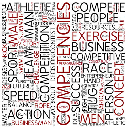 rival: Word cloud - competencies Stock Photo