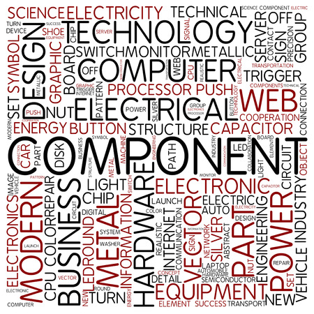 electronic components: Word cloud - component Stock Photo