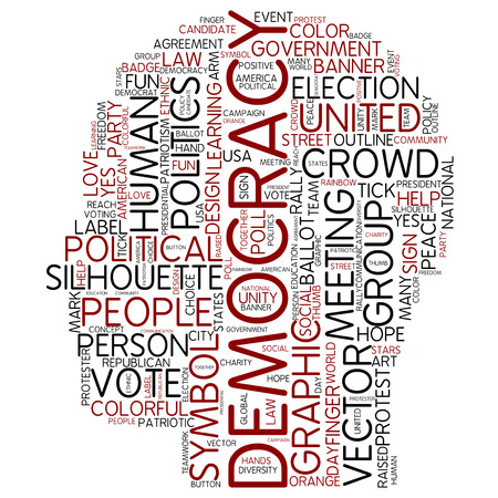 Word cloud - democracy Stock Photo