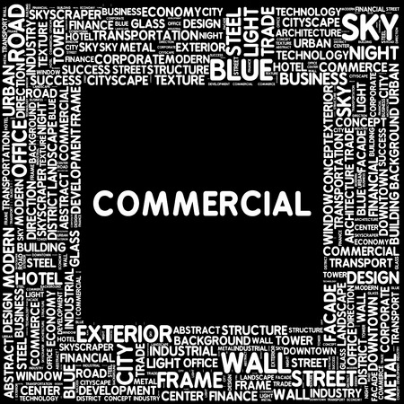 small group of object: COMMERCIAL  - Modern Word Cloud