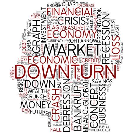 downturn: Word cloud - downturn Stock Photo
