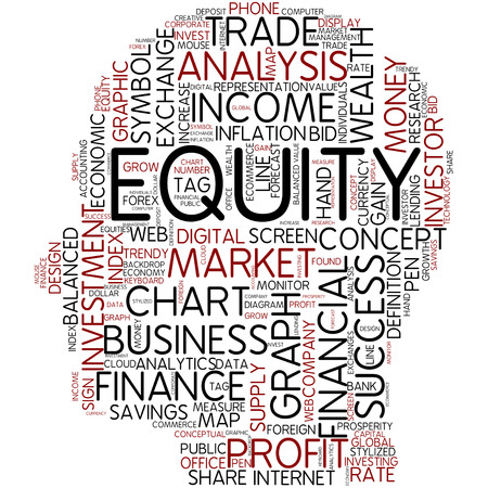 equity: Word cloud - equity Stock Photo