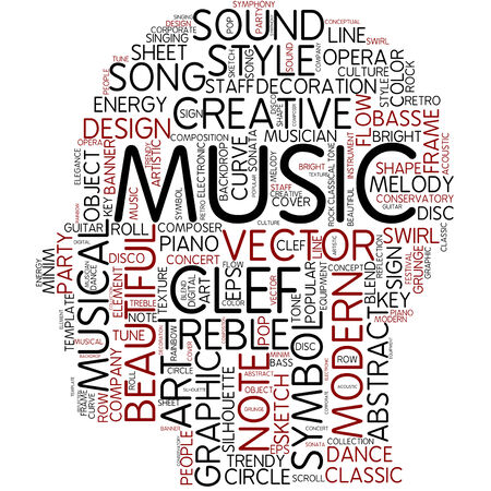 key words art: Word cloud - music Stock Photo