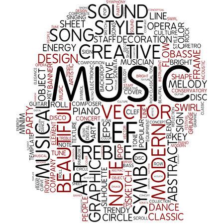 key words art: Word cloud - music Stock Photo