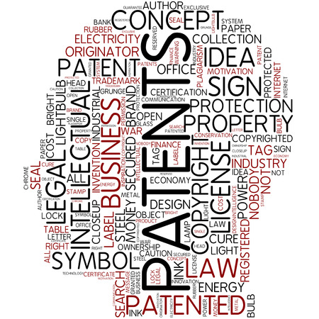 patents: Word cloud - patents Stock Photo