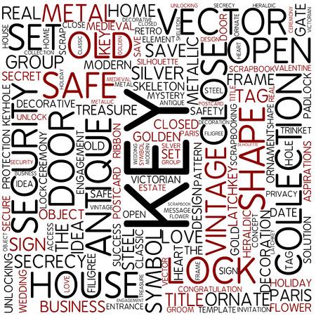 open doors: Word cloud - key Stock Photo