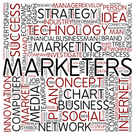 marketers: Word cloud - marketers Stock Photo