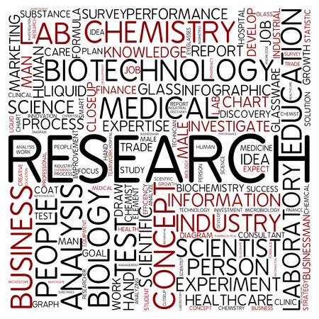 research study: Word cloud - research Stock Photo