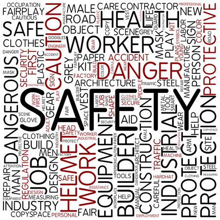 safety first: Word cloud - safety Stock Photo