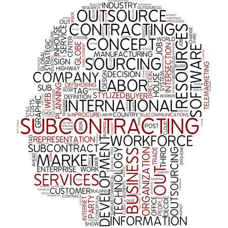procure: Word cloud - subcontracting Stock Photo