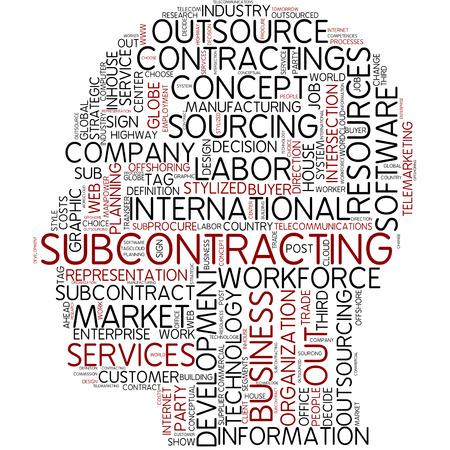labor market: Word cloud - subcontracting Stock Photo