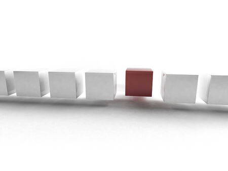 3D rendering of cubes in a line photo