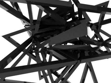 detach: 3D rendering of black triangles