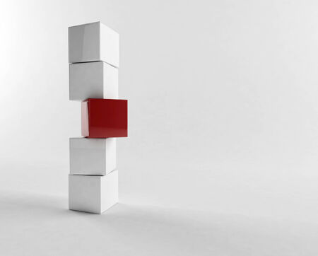 detach: 3D rendering of a stack of cubes Stock Photo