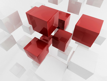 3D rendering of sparse solid cubes photo