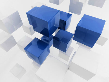 detach: 3D rendering of sparse solid cubes