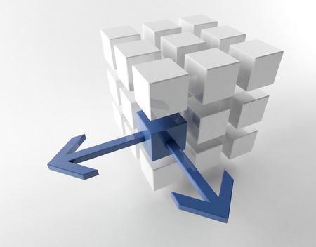 unique concept: 3D rendering of cubes