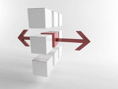 detach: 3D rendering of organized cubes Stock Photo