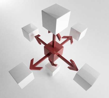 detach: 3D rendering of cubes with arrows