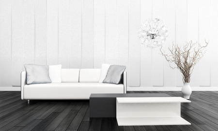 3D rendering of white couch against white wall photo
