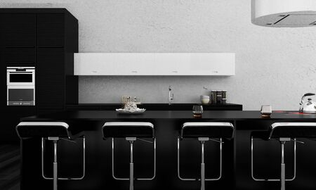 3D rendering of a modern kitchen bar photo