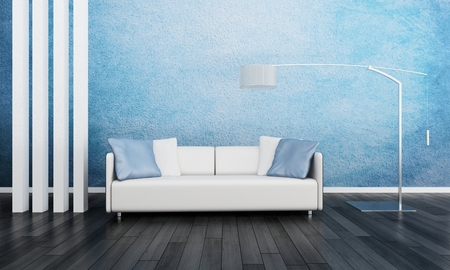 3D rendering of white couch against blue and white wall photo
