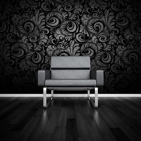 3D rendering of black couch against black baroque wall  photo