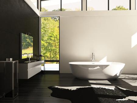 モダンなデザインのバスルームの 3 D レンダリング