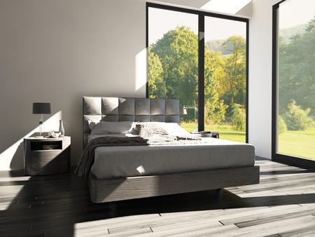 view of a comfortable bedroom: 3D rendering of a modern design bedroom