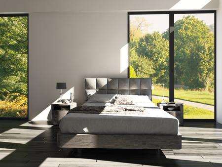 interior bedroom: 3D rendering of a modern design bedroom