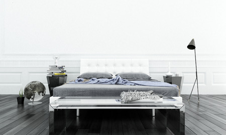 Luxurious white bedroom interior with double bed Foto de archivo