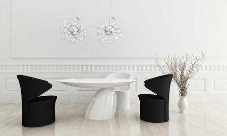 3D rendering of modern dining room with black and white chairs photo