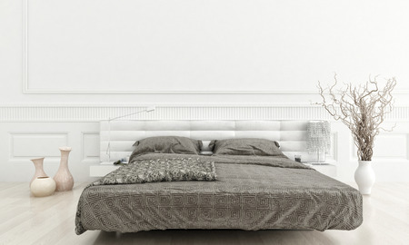 d�coration murale: Int�rieur de chambre blanche de luxe avec lit double