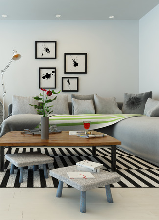 couches: 3D rendering of living room interior Stock Photo