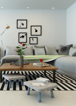 verticales: Representación 3D del interior sala de estar