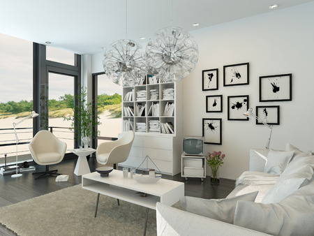 Modern living room interior facing the beach photo