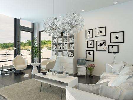 decoracion mesas: Moderna sala de estar interior frente a la playa Foto de archivo