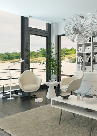 modern living room: Modern living room interior facing the beach