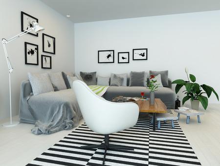 3D rendering of living room interior photo