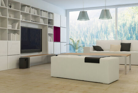 Modern living room with beige couch and white cabinet photo