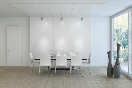 masalar: Modern lüks beyaz yemek odası Stok Fotoğraf