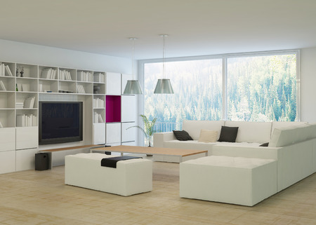 Modern living room with beige couch and white cabinet Archivio Fotografico