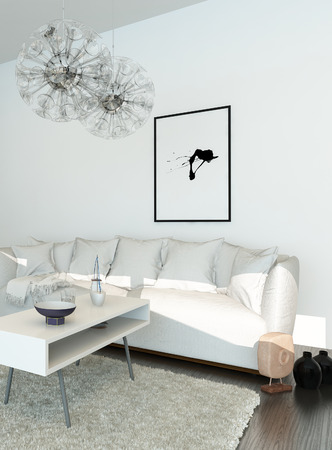 living room design: Modern living room with white couch  Stock Photo