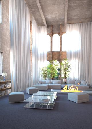 luxurious sofa: Modern design loft interior and white curtains